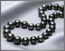 "HUGE 18""10-11MM NATURAL SOUTH SEA GENUINE BLACK ROUND PEARL NECKLACE"