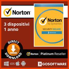 Norton Security Deluxe 2020 3 Multi Dispositivi 1 Anno Licenza E-mail Consegna