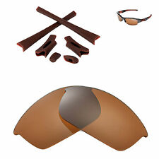 Walleva Polarized Brown Replacement Lenses And Rubber Kit For Oakley Flak Jacket