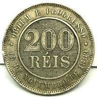 BRAZIL- 200 REIS -1889/1896 - CU/NI  - RARE COIN KM#493