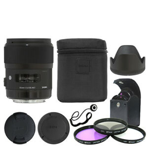 Sigma 35mm f/1.4 DG HSM Art Lens for Nikon DSLR Cameras + Deluxe Accessory Kit