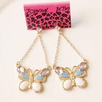 New Betsey Johnson Butterfly Dangle Earrings Gift Fashion Women Party Jewelry FS