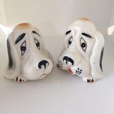 Vintage Bloodhound Dog Head Ceramic Salt & Pepper Shakers White Brown
