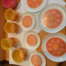 Vintage Pretend Dishes Orange And Flowers