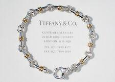 Tiffany & Co Plata De Ley 18 CT 18 ct Barra Dorada Eslabón 19.1cm Pulsera