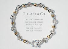 TIFFANY & Co argent sterling 18 CARATS 18K or barre de lien 19.1cm bracelet