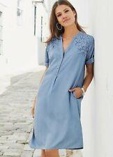 Together NWT UK size 10 blue denim embroidered loose fit shift dress *