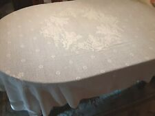 "Vintage Off-White TABLECLOTH Filet Crochet ANGEL DESIGN 72"" x 60"" Rectangular"