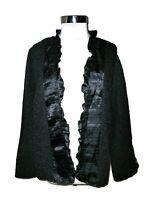 AVENUE Plus Size 2X Jacket Cardigan Top Black Crinkle Ruffles Long Sleeve