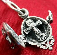 Christian Jewelry Cross Locket. Open Work Silver 925. Russian Orthodox Pendant