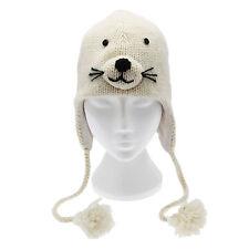 Sello hecho a mano Invierno Animal De Lana Divertido Sombrero Forro Polar un tamaño, Unisex
