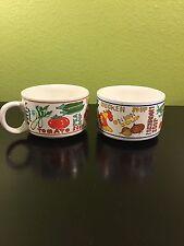 2 Large Advertising Soup/Coffee/Tea Mug/cup/bowl Onion Tomato Potato Vegetables