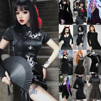 Women Dark Punk Dress Black Goth Dress Gothic Girl Sexy Cosplay Street Dresses