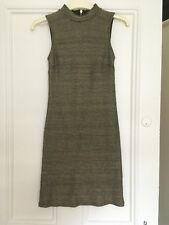 Topshop High Neck Gold Bodycon Party Dress, Size 8