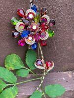 AMAZING BIG Vintage D&E Juliana Multi Color Rhinestone Figural Flower Brooch Pin