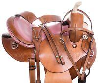 GAITED 14 15 16 PLEASURE TOOLED WESTERN BARREL TRAIL HORSE LEATHER SADDLE TACK