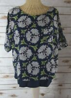 Anthropologie Meadow Rue Womens XS Navy Blue Print SS Layered Tunic Top Lined