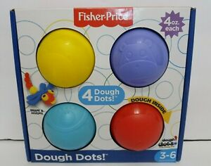 Fisher Price Dough Dots Character Dough 4-Pack Red, Blue, Purple, Yellow