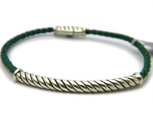 David Yurman Mens Medium Sterling Silver Cable Metro Green Leather Bracelet NWT
