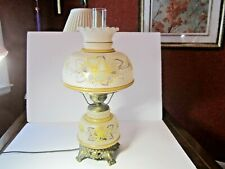 """New listing Vtg Gone With The Wind Lamp Large 22"""" Pastel Yellow Floral Frosted Glass 3-Way"""