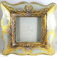 Standing Photo Picture Frame Concept in Time Gold White Scroll Resin 3.25x3.25""