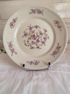 """Assiette décor floral en porcelaine extra-dure """" Aluminite Frugier"""" Limoges"""