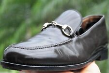 Men's GUCCI Brown leather Stainless  Horse-bit  Loafers  shoes Gucci Szize 11D