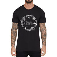 Men's T-shirts Game of Thrones House Short Sleeve Cotton Black Tee Shirts Tops