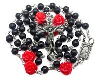 Catholic Black Pearl Beads Rosary Necklace Red Our Rose Holy Lourdes Medal Cross