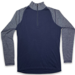 Smartwool Men's 250 Base Layer Size Medium Navy 1/4 Zip Long Sleeve Merino Wool