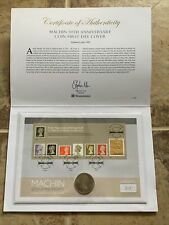 More details for 2017 machin 50th anniversary rare gold foil £1 stamp + coin cover limited to 995