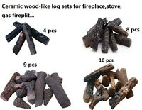 Fireplace, stoves, gas firepit Wood-like Ceramic decorative Log Set 4,8,9,10pcs