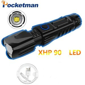 Powerful XHP90 150000LM LED Flashlight USB Zoom Torch Camping Lantern 5 Modes