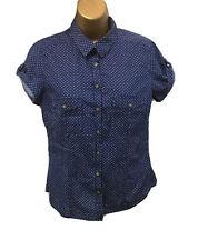 HM Shirt Top 12 10 UK Blue Polka Dot Short Roll Sleeve Button Up Summer Utility