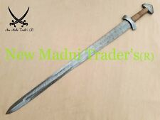 "38"" DAMASCUS ''D'' POMMEL DOUBLE SHADED WRAP WIRE HANDLE VIKING SWORD"