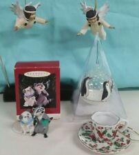 Christmas angels ,penguin, raccoon puppy hummingbird  . Teacup ornaments