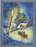 VINTAGE CHRISTMAS SHABBY BLUE CHIC HOUSE NIGHT HORSE SLEIGH SNOW GREETING CARD
