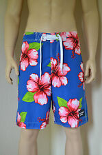 """Abercrombie & Fitch Green Mountain Swim Board Shorts Blue Floral XS 28"""" RRP £64"""
