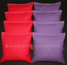 CORNHOLE BEAN BAGS Red & Purple 8 All Weather Resin Filled