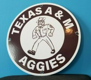VINTAGE TEXAS A & M PORCELAIN AGGIES FOOTBALL COLLEGE SPORTS STADIUM STORE SIGN