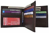 Brown Hipster Bifold Genuine Leather Multi Card ID Money Holder Men Euro Wallet