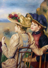 """Auguste_Renoir  Repro  Oil Painting -Two Seated Young Girls - size 20""""x28"""""""