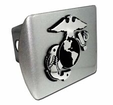 Marines Insignia Brushed Chrome Trailer Hitch Cover High Quality Made in USA NEW