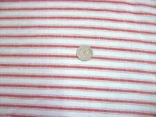 """1 yd of 58"""" Vintage Beige cotton Red Ticking stripe sewing quilting----*"""