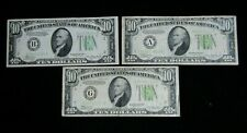 Lot of (3) 1934 $10 Dollar Federal Reserve Paper Notes Circulated