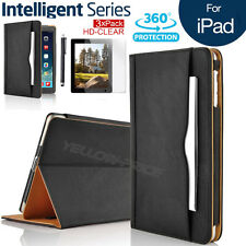 iPad 2 3 4Gen Black Leather Wallet Smart Case Sleep/Wake Stand Cover Screen Film