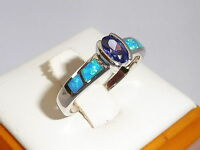 Ladies 925 Solid Fine Silver Oval Cut Tanzanite Solitaire With Opal Accents Ring