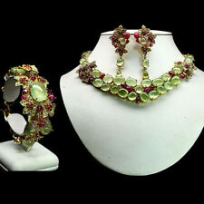 NATURAL SET GREEN PREHNITE RUBY SAPPHIRE & TSAVORITE GARNET 925 STERLING SILVER