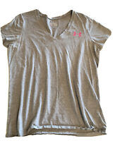 Under Armour Womens T-Shirt Top V Neck Semi Fitted Gray Size XL