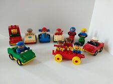 Lot of Lego Duplo Vehicles and Figures, Race car, Motor Cycles, all with Figures